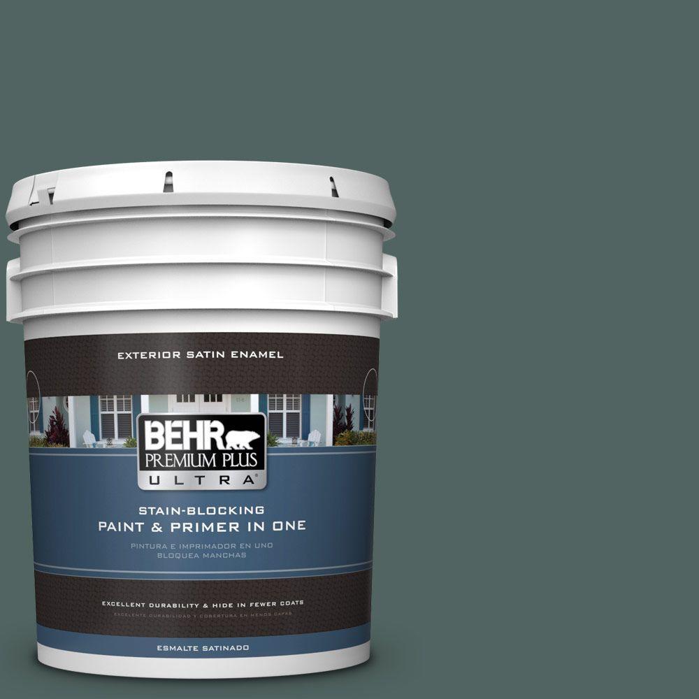 BEHR Premium Plus Ultra 5-gal. #S430-7 Blue Fir Satin Enamel Exterior Paint