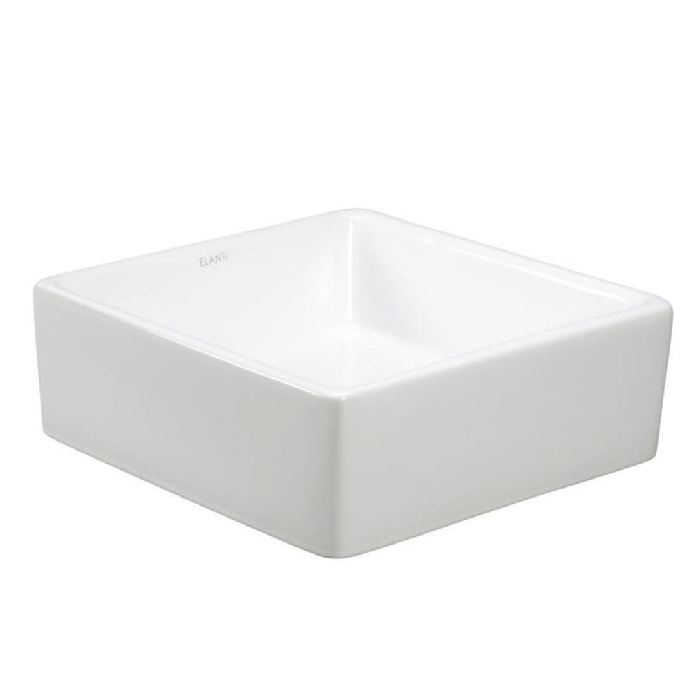 Elanti Square Vessel Bathroom Sink In White 1104 The