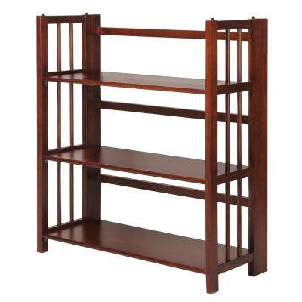 3-Shelf 35 in. Walnut Wide Folding Stackable Bookcase
