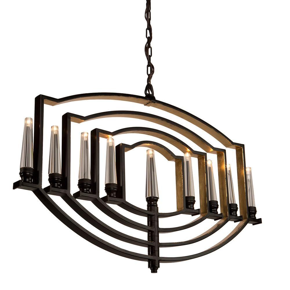 9-Light Oil Rubbed Bronze and Gold Leaf Chandelier
