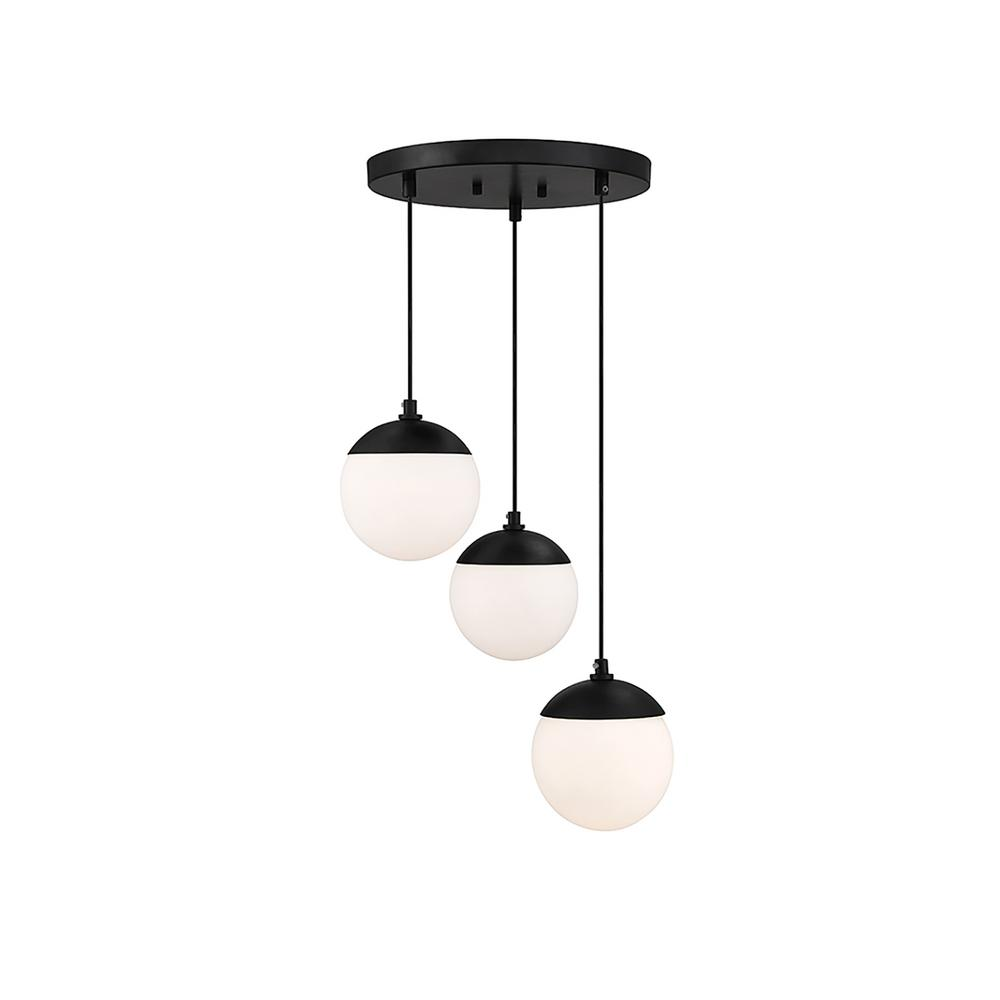 3-Light Matte Black Chandelier with White Opal Glass