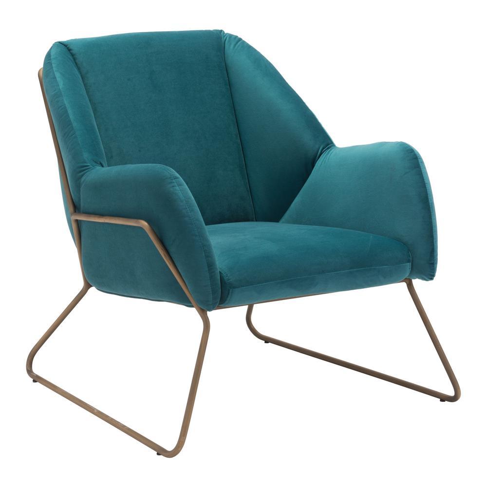 Stanza Green Velvet Arm Chair