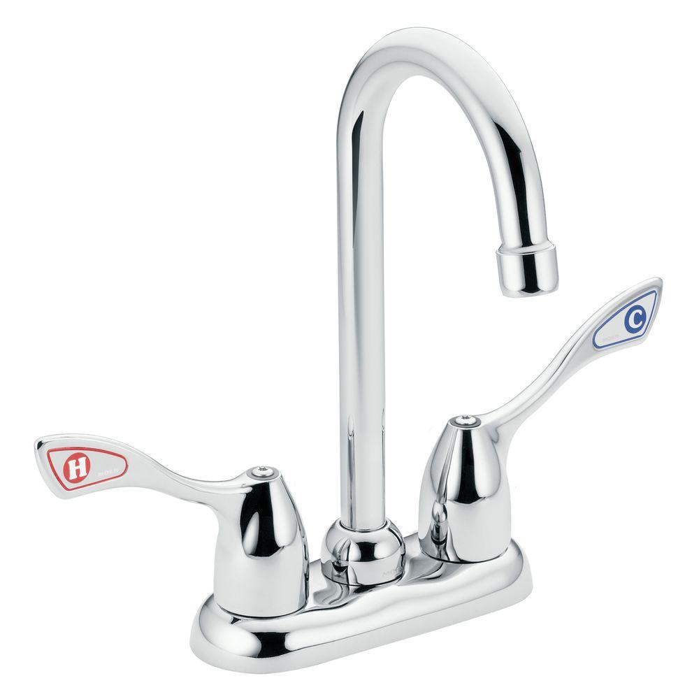 MOEN Handle HighArc Bar Faucet In Chrome The Home Depot - Moen commercial bathroom faucets