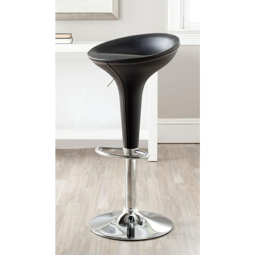 Safavieh Shedrack Adjustable Height Black Swivel Cushioned Bar Stool