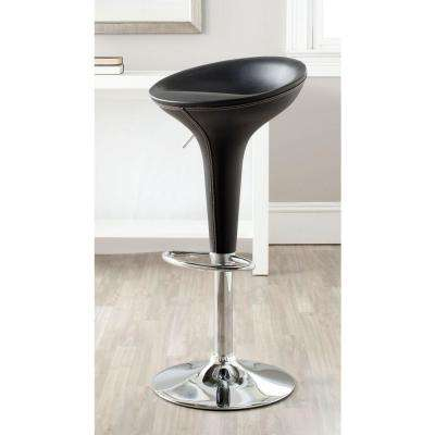 Shedrack Adjustable Height Black Swivel Cushioned Bar Stool