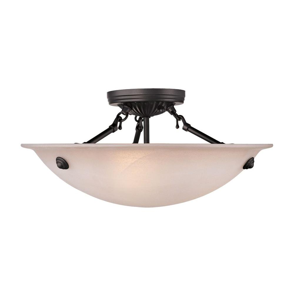 3-Light Bronze Flushmount with Honey Alabaster Glass Shade