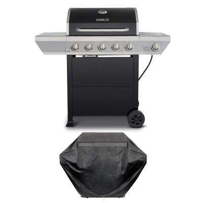 5-Burner Propane Gas Grill in Black with Stainless Steel Control Panel and Side Burner Plus Grill Cover