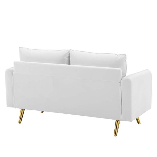 MODWAY Revive 60 In. White Velvet 2-Seater Loveseat With Gold Legs-EEI-3989-WHI - The Home Depot