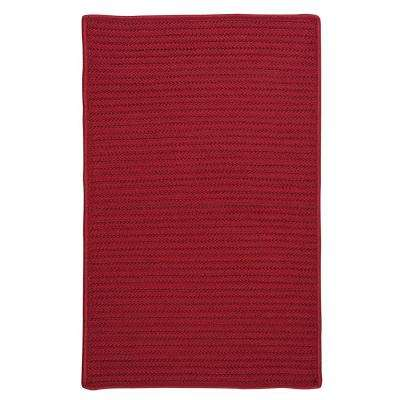 Solid Red 2 ft. x 6 ft. Indoor/Outdoor Braided Runner Rug