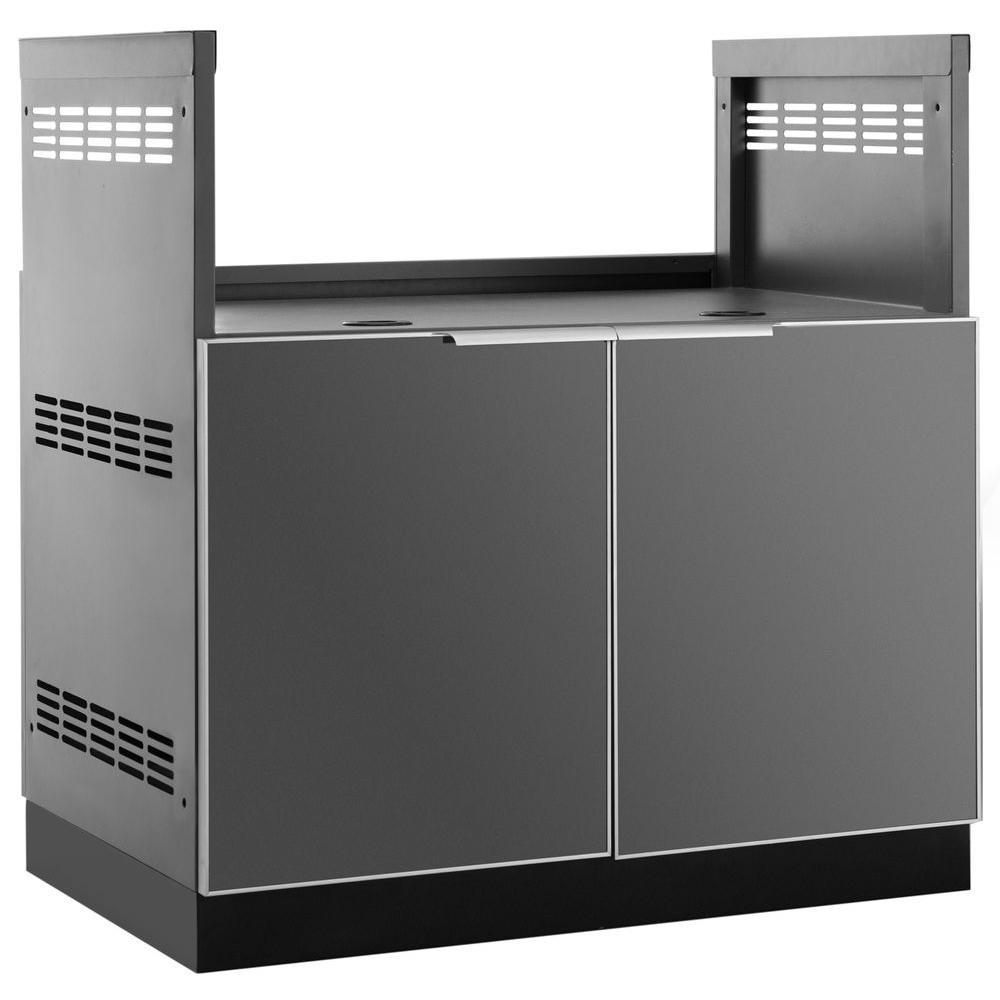 Slate Gray Insert BBQ Grill 33 in. W x 36.5 in. H x 23 in. D Outdoor Kitchen Cabinet