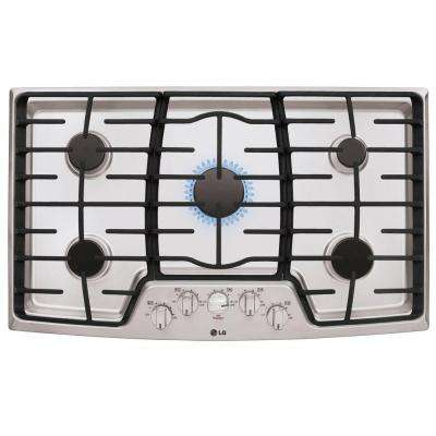 36 in. Gas Cooktop in Stainless Steel with 5 Burners including 17K SuperBoil Burner