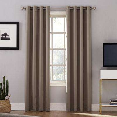 Oslo Woven Home Theater Grade Blackout Mushroom Grommet Single Curtain Panel - 52 in. W x 63 in. L