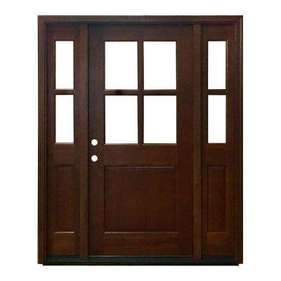 68 in. x 80 in. Farmhouse Ashville Right-Hand Inswing Chestnut Stained Wood Prehung Front Door