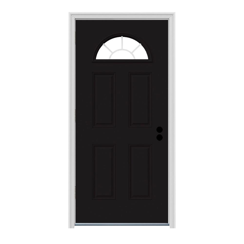 Jeld wen 32 in x 80 in fan lite black painted steel prehung right hand outswing front door w for Prehung outswing exterior door