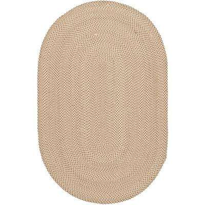 Braided Beige/Brown 8 ft. x 10 ft. Oval Area Rug