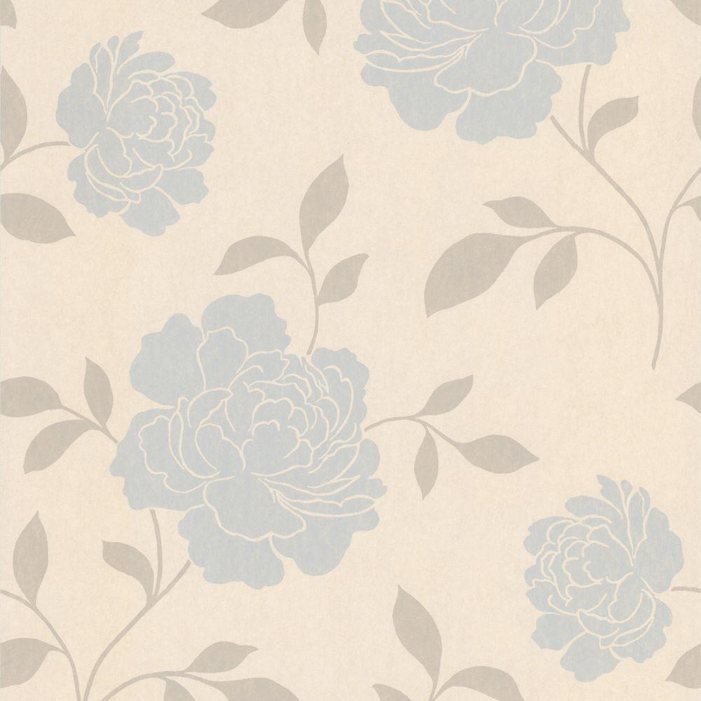 Clara Light Blue Floral Silhouette Wallpaper