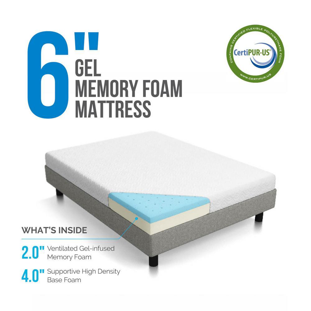 "6/"" Dual-Layer Twin XL Size Firm Memory Foam Mattress With 10-Year Warranty"