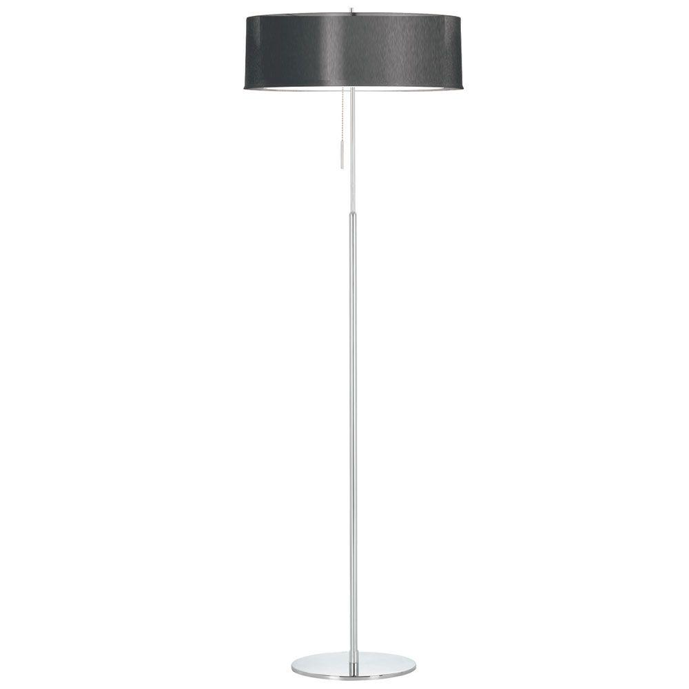 Catherine 61 in. Incandescent Polished Chrome Floor Lamp with Black Organza