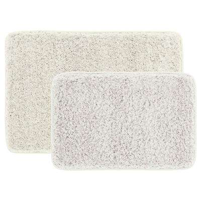 Cream 20 in. x 30 in. Solid Shag 2-Piece Bath Mat Set