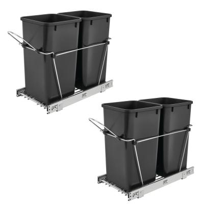 Double 27 Qt. Sliding Pull Out Waste Bin Container (2-Pack)
