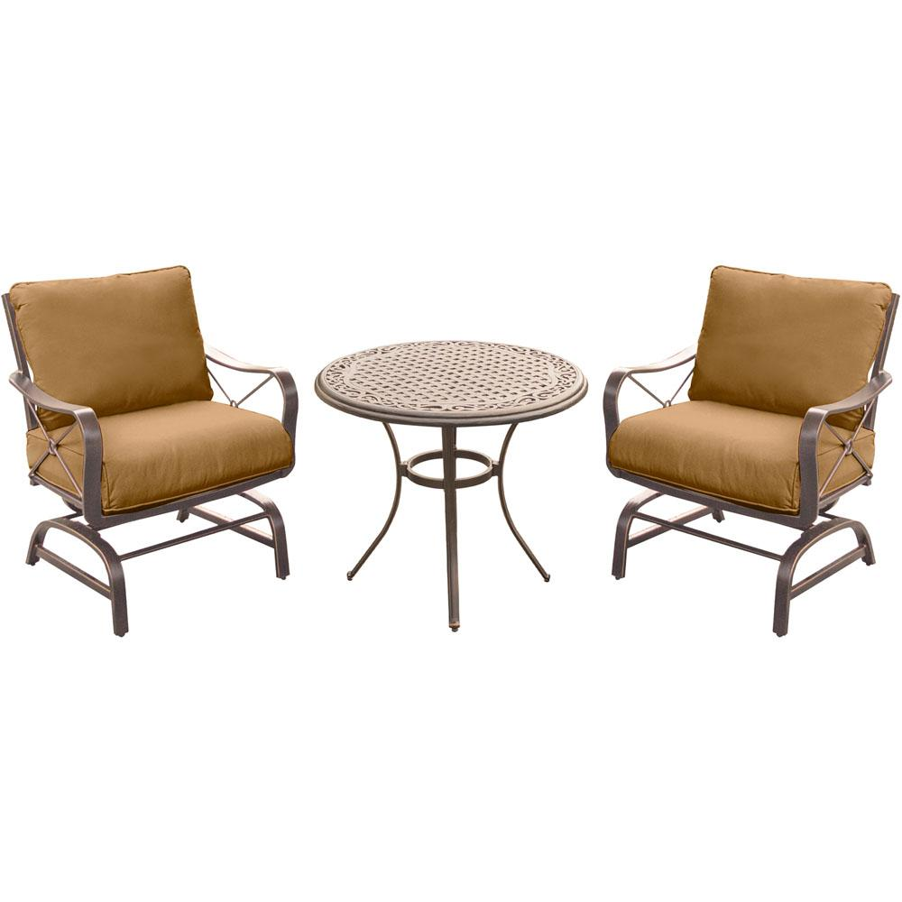 Summer Nights 3-Piece Outdoor Bistro Set with Steel Rockers and Round