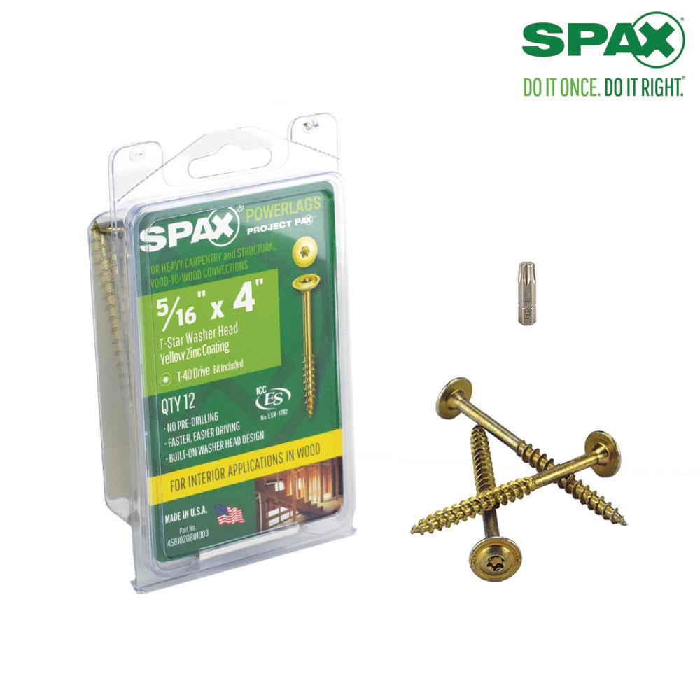 Spax 5 16 In X 4 In T Star Washer Head Yellow Zinc