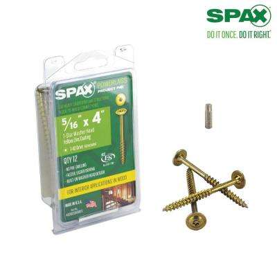 5/16 in. x 4 in. T-Star Washer Head Yellow Zinc Coated Powerlag Screw Project Pax (12-Box)