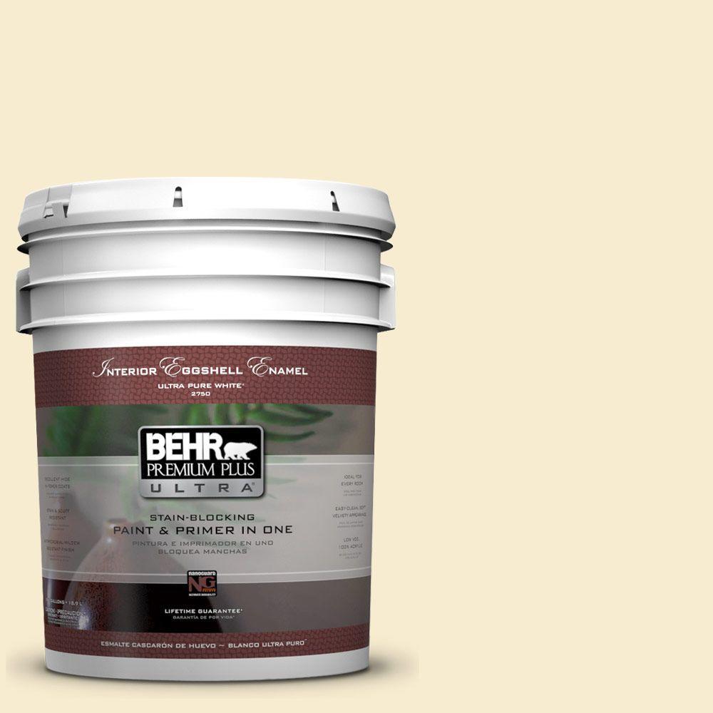 BEHR Premium Plus Ultra 5-gal. #380E-2 Lightning White Eggshell Enamel Interior Paint