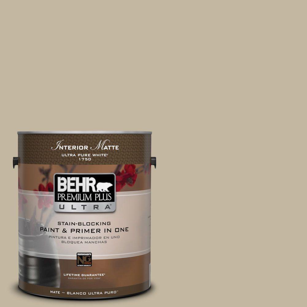BEHR Premium Plus Ultra Home Decorators Collection 1 gal. #HDC-NT-09 Basic Khaki Flat/Matte Interior Paint