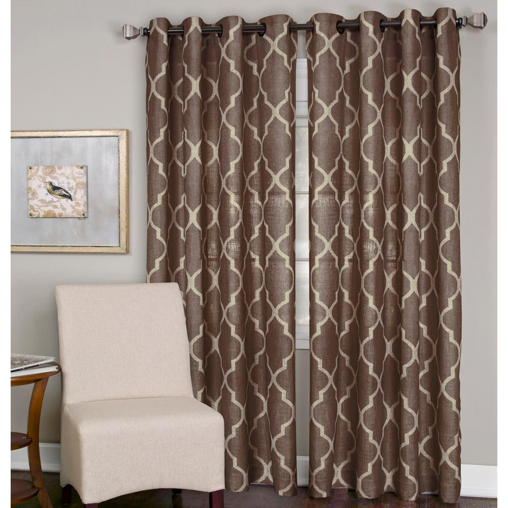 Elrene Medalia Mocha Grommet Top Window Curtain Panel