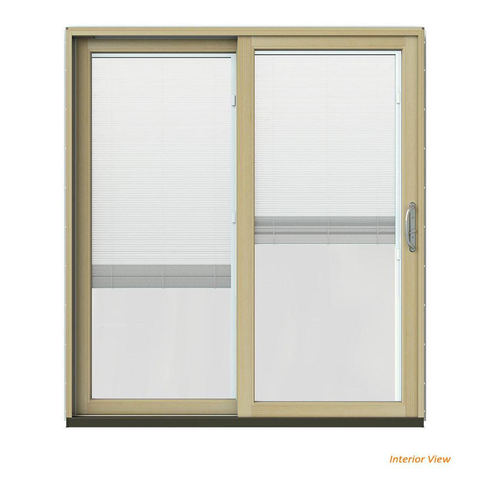 JELD-WEN 72 in. x 80 in. W-2500 Contemporary Green Clad Wood Left-Hand Full Lite Sliding Patio Door w/Unfinished Interior
