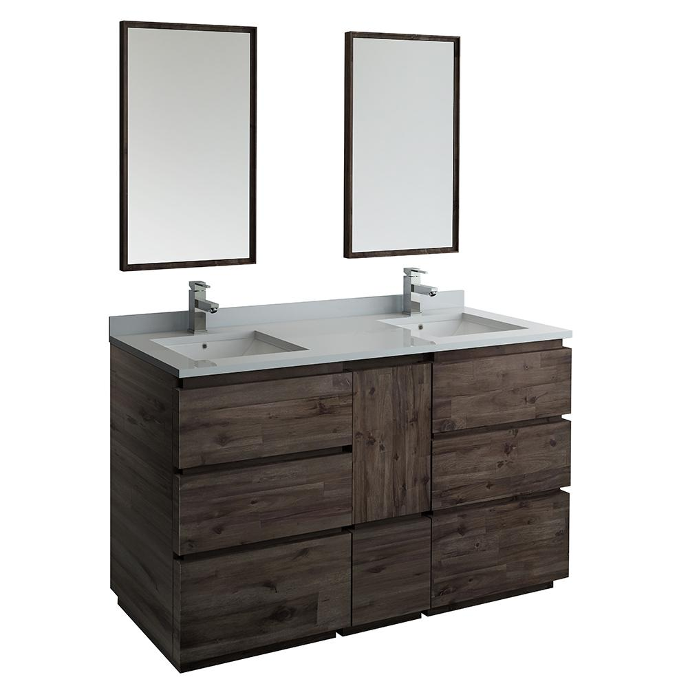 promo code 9ddaa 5dfd3 Fresca Formosa 60 in. Modern Double Vanity in Warm Gray with Quartz Stone  Vanity Top in White with White Basins and Mirrors