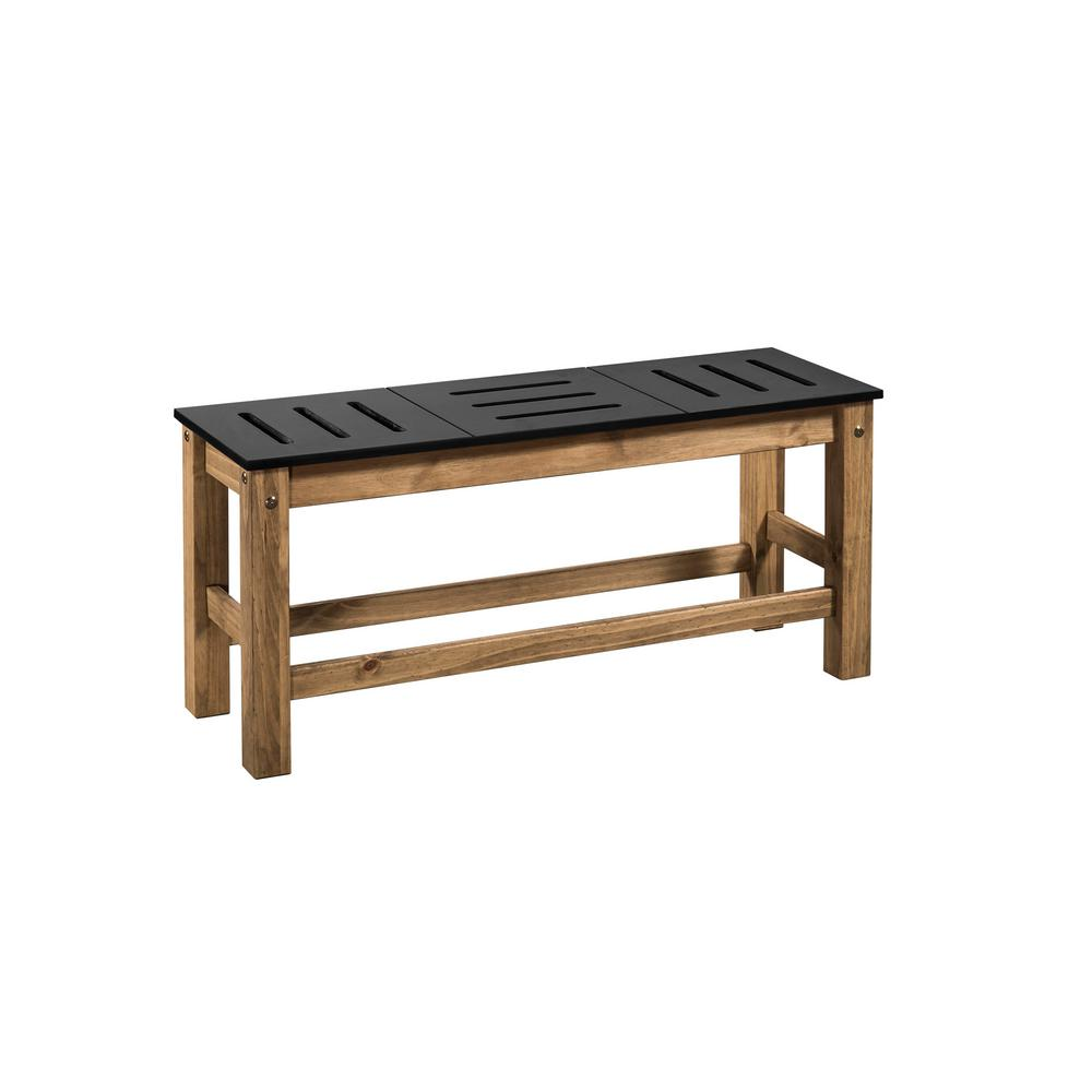 Stillwell 37.8 in. Black and Natural Wood Bench (Set of 2)