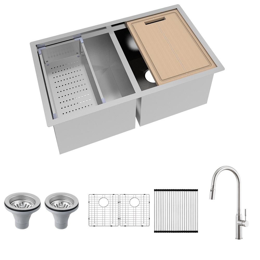 Glacier Bay All-in-One Undermount Stainless Steel 33 in. 50/50 Double Bowl Workstation Kitchen Sink with Faucet and Accessories