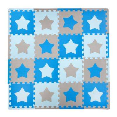 Blue/Grey Stars 50 in. x 50 in. Residential Play Mat