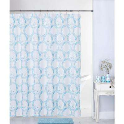 Paradise Circle 17-Piece Bath Rug, Ceramic Accessories and Shower Curtain Set