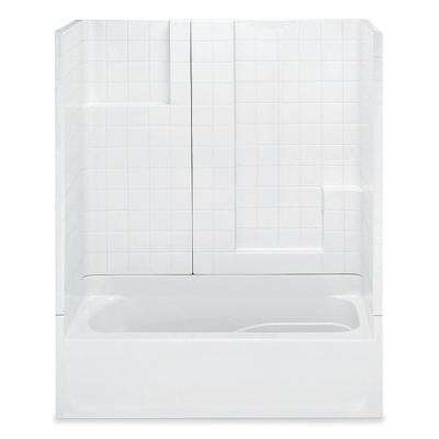 Remodeline Smooth Tile 60 in. x 30 in. x 72 in. 3-Piece Bath and Shower Kit with Right Drain in White