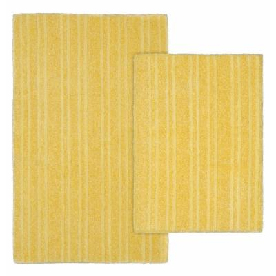 Grand Isle Rubber Ducky Yellow 21 in. x 34 in. Striped Nylon 2-Piece Bath Mat Set