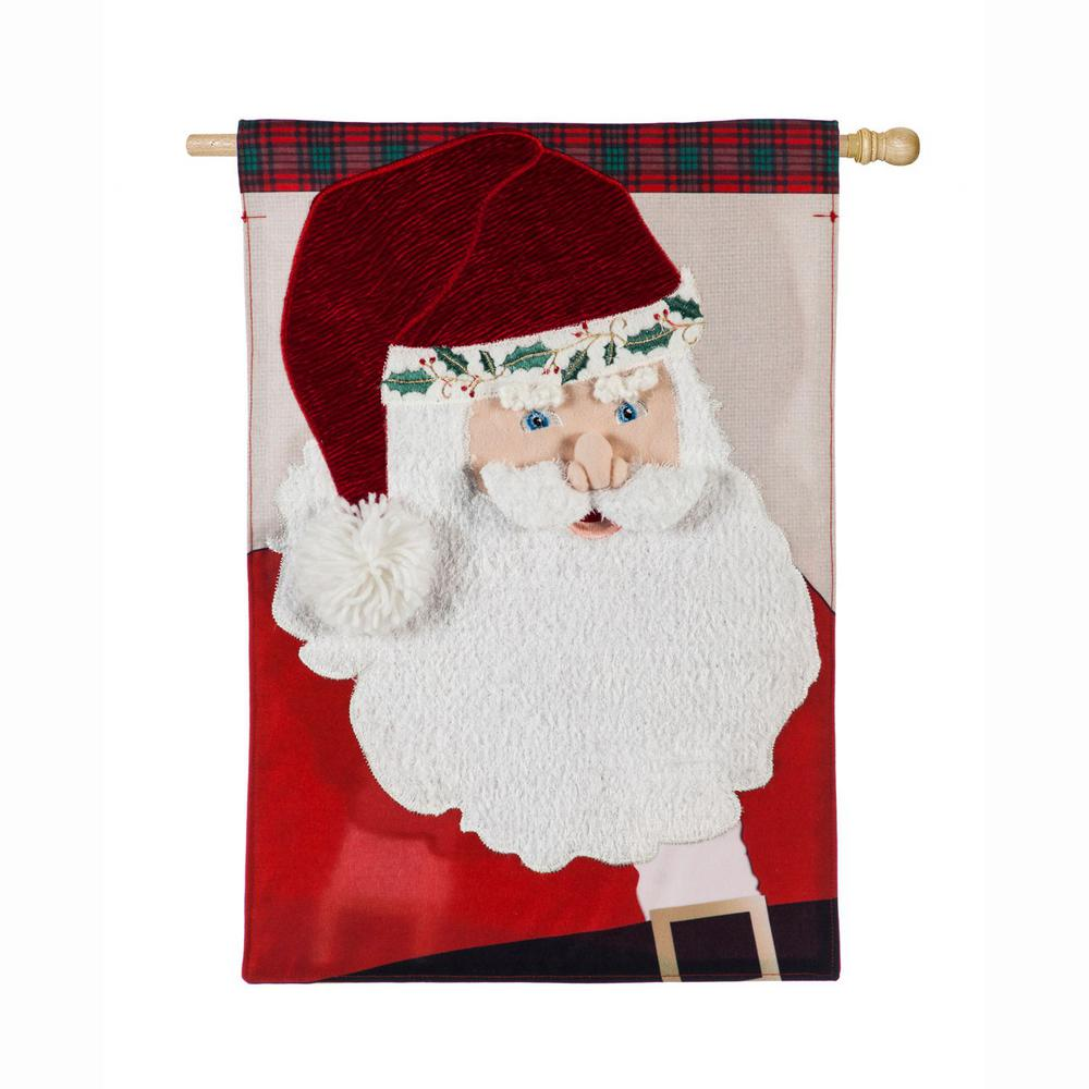 Evergreen 28 in. x 44 in. Santa Claus House Linen Flag