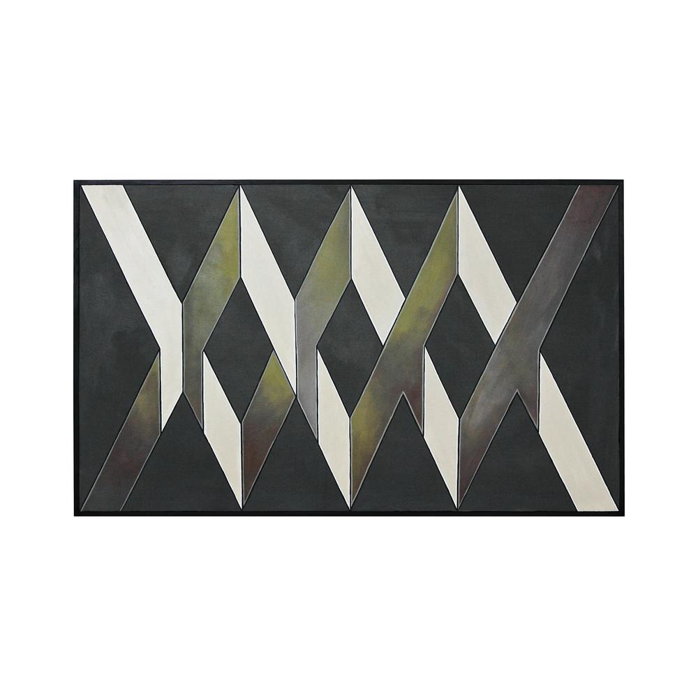 37 in. x 61 in. ''Intersections'' Hand Painted Framed Canvas Wall
