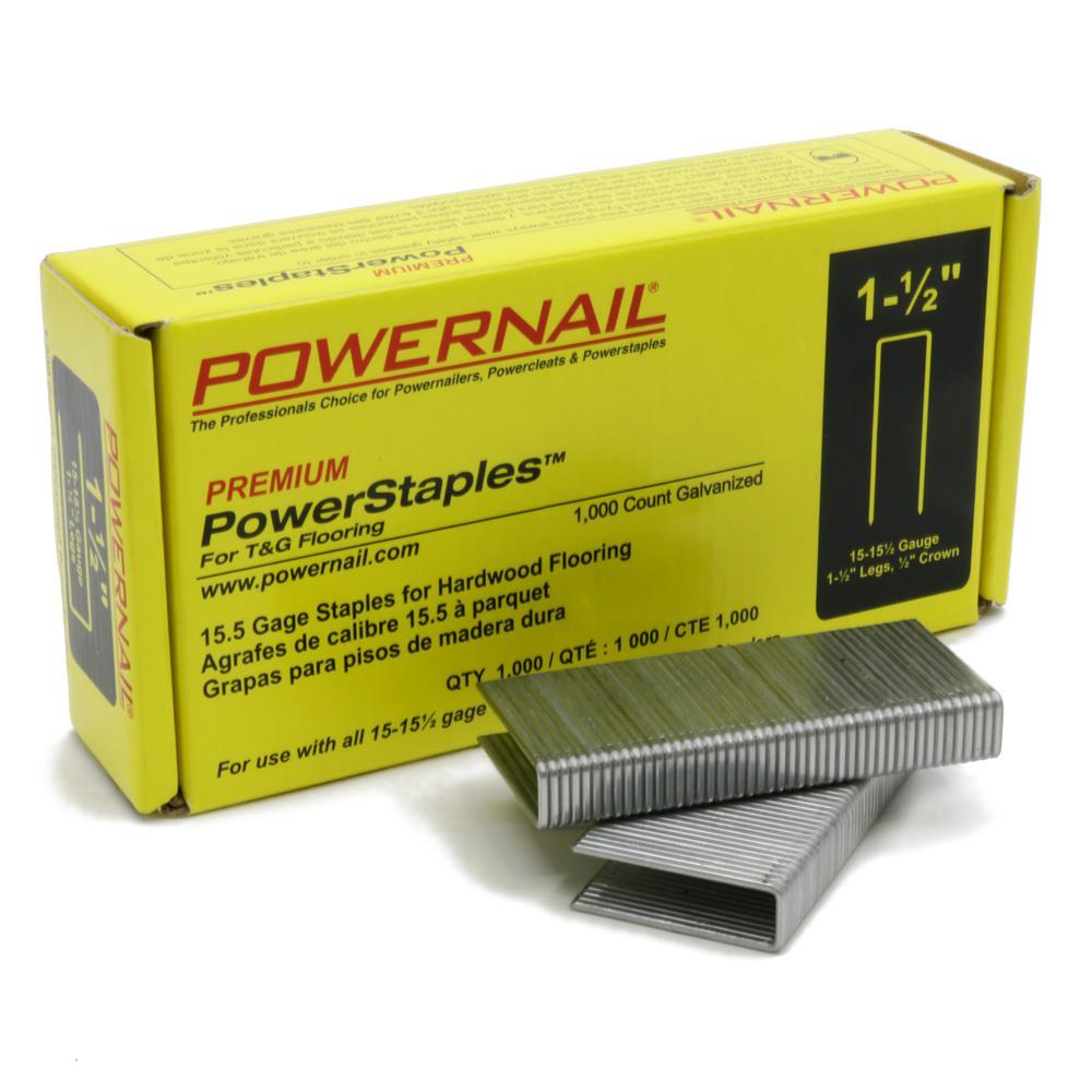 POWERNAIL PowerStaples 1-1/2 in. Leg x 1/2 in. Crown x 15-1/2-Gauge Steel Hardwood Flooring Staples (1,000-Pack)
