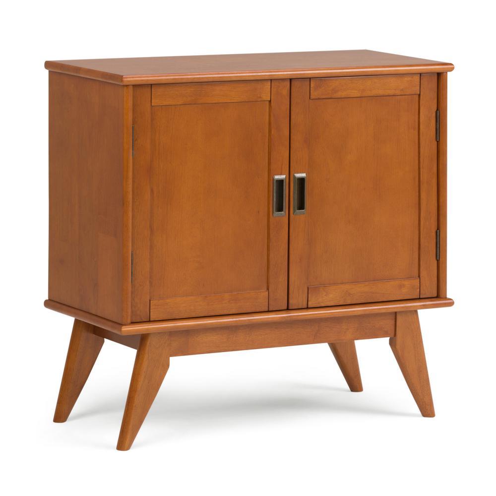 Simpli Home Draper Mid Century Teak Brown Low Storage Cabinet