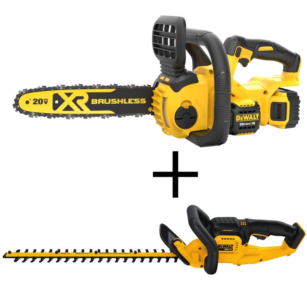 DEWALT 20-Volt MAX XR Lithium-Ion Cordless 12 in.  Brushless Chainsaw with 22 in. 20-Volt Lithium-Ion Cordless Hedge Trimmer