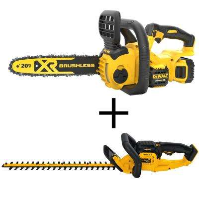 12 in. 20-Volt MAX XR Lithium-Ion Cordless Brushless Chainsaw with 22 in. 20-Volt Lithium-Ion Cordless Hedge Trimmer
