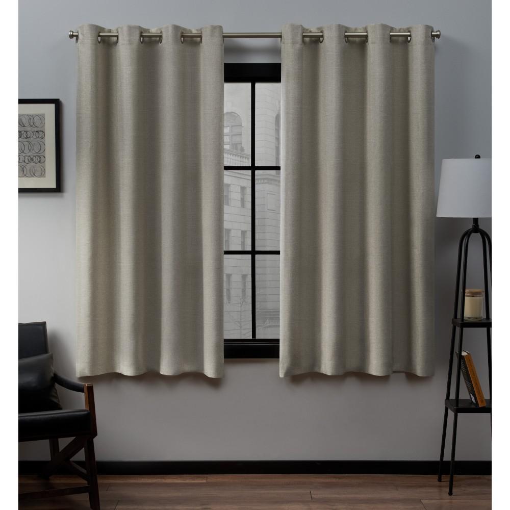 Loha 52 In W X 63 In L Linen Blend Grommet Top Curtain
