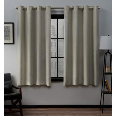 Loha 52 in. W x 63 in. L Linen Blend Grommet Top Curtain Panel in Natural (2 Panels)