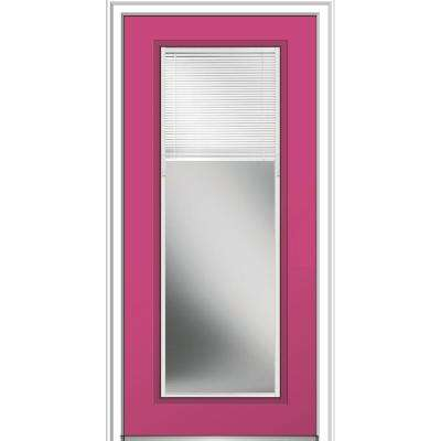 36 in. x 80 in. Internal Blinds Left-Hand Inswing Full Lite Clear Painted Steel Prehung Front Door