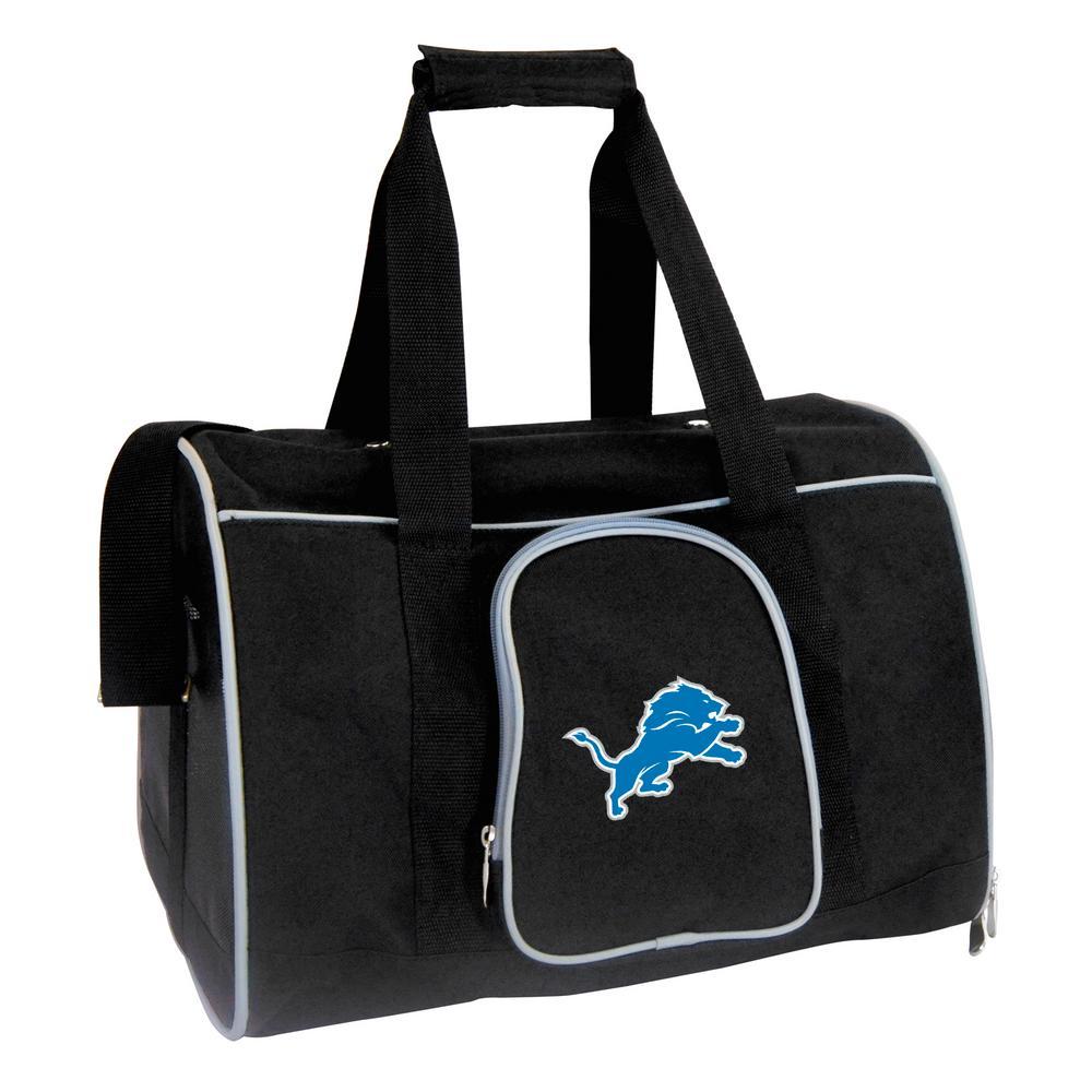 Denco NFL Detroit Lions Pet Carrier Premium 16 in. Bag in Gray, Team Color
