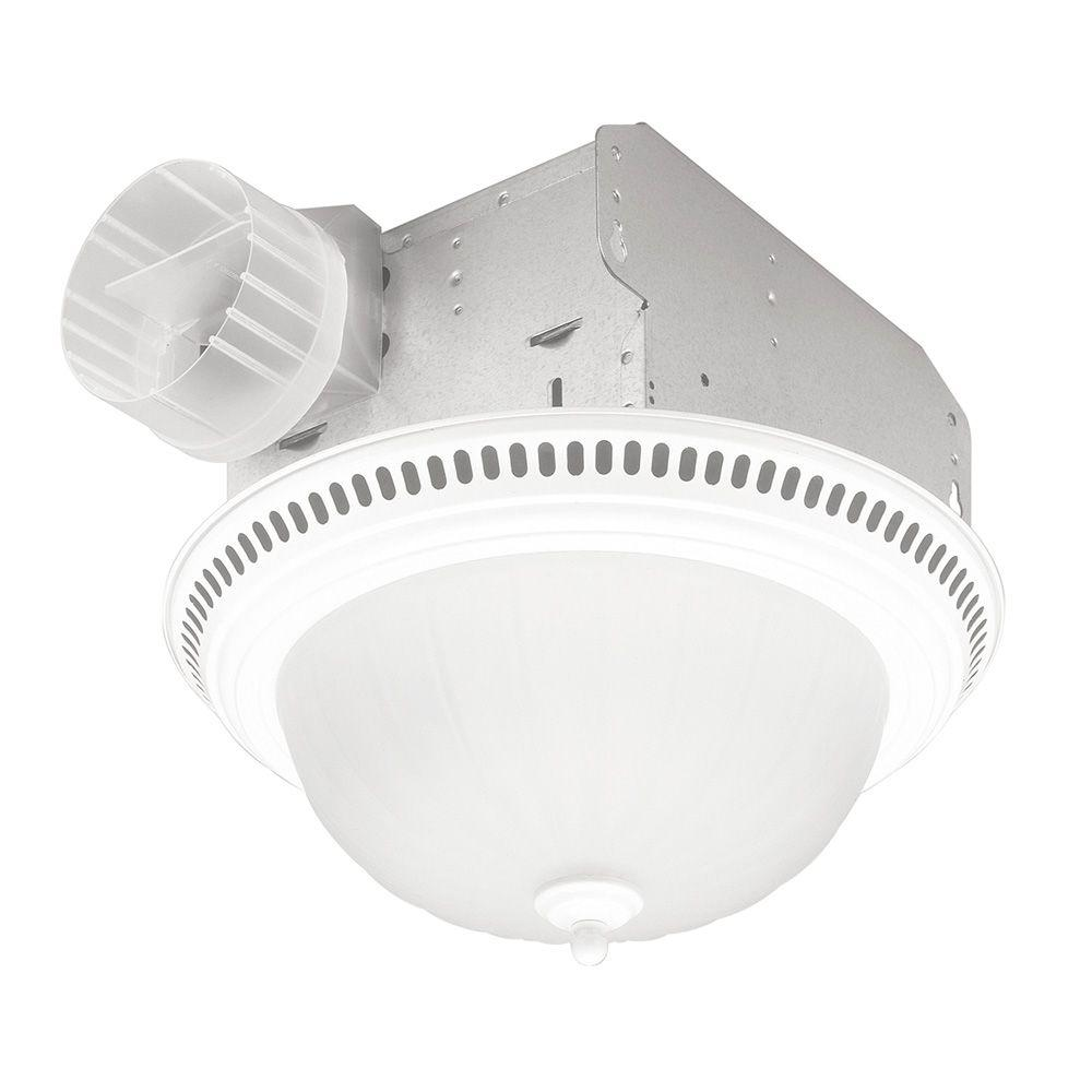 NuTone Decorative Gloss White 70 CFM Ceiling Exhaust Fan with Frosted Glass, Light and Fluorescent Tube Bulb-DISCONTINUED