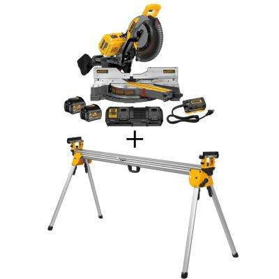 FLEXVOLT 120-Volt MAX Lithium-Ion Cordless Brushless 12 in. Sliding Miter Saw w/ (2) Batteries 2Ah and Bonus Stand